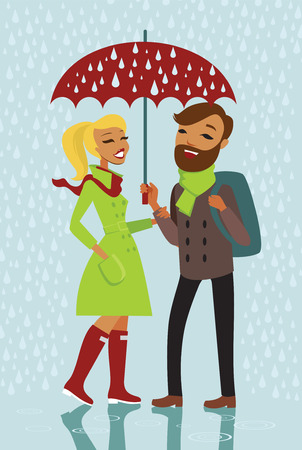 sotto la pioggia: Giovane coppia alla moda in piedi sotto la pioggia con un ombrello rosso