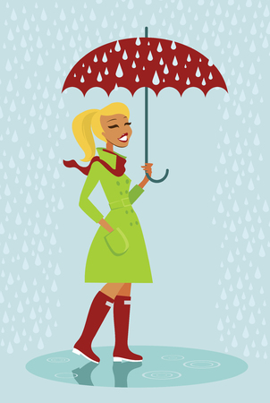 red umbrella: Young woman in raincoat standnig under red umbrella Illustration