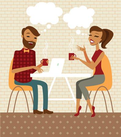 hombre caricatura: Pareja joven hablando y beber café en un café