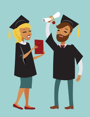 graduado: Dos estudiantes graduados felices con diploma