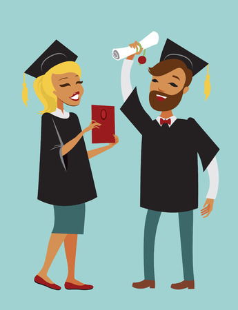graduate: Two happy graduate students with diploma