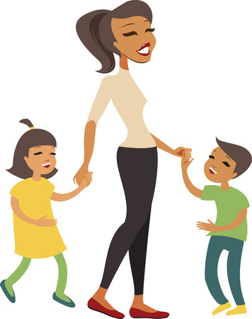 mom daughter: Woman and kids holding hands while walking Illustration