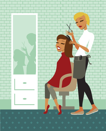 beautiful girl cartoon: Young beautiful woman having her hair cut at the hairdresser salon