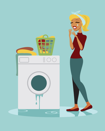 laundry machine: Unhappy housewife with her broken washing machine