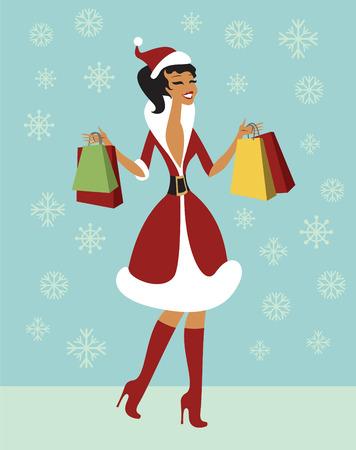 senhora: natal, menina, segurando sacolas de compras Boas