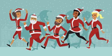 Mensen tekens deelnemers van Santa plezier ras marathon Stock Illustratie