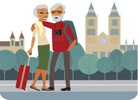 active seniors: Happy senior couple travelling around Europe vector Illustration