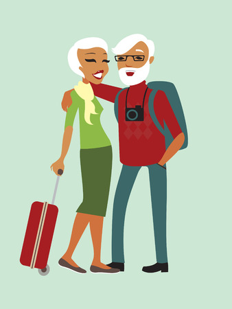 tour guide: Happy senior couple tourists with luggage vector