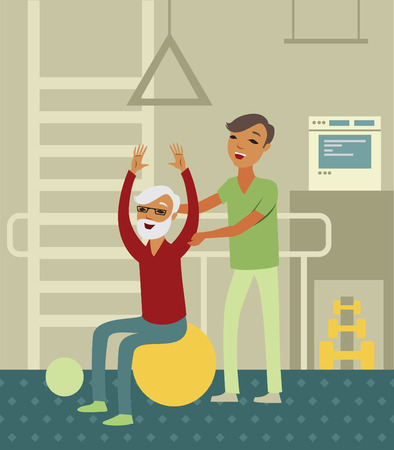 fitness instructor: Elderly senior doing exercise with instructor in the gym Illustration
