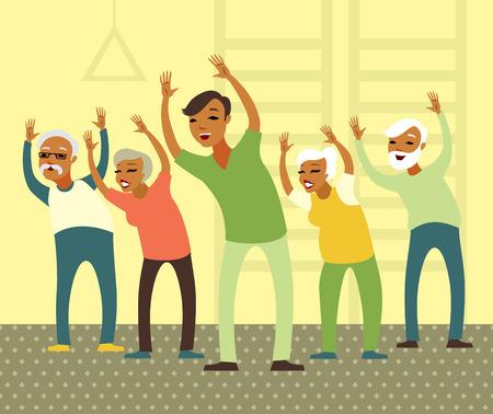 mulher: Grupo de idosos que fazem o exercício com instrutor na ginástica