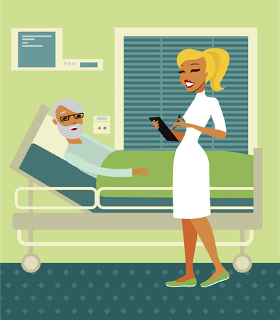 woman lying in bed: Nurse standing By elderly seniors Bed In Hospital Illustration