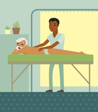 massage: Homme physioth�rapeute masser un dos sup�rieur dans le centre m�dical