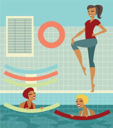 gimnasia aerobica: Grupo de mujeres con fideos de natación en una piscina haciendo ejercicios con instructor