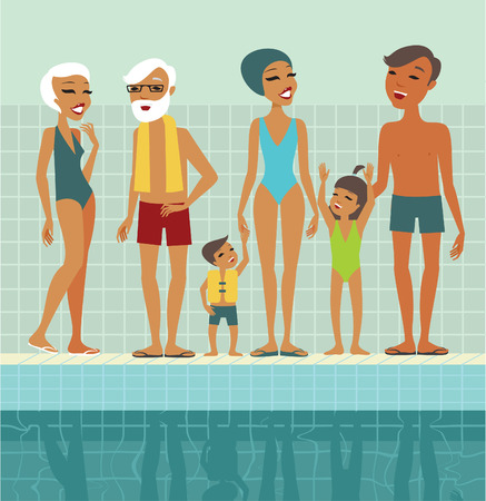 water pool: Various people characters in swimming pool flat vector illustration