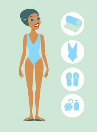 swim goggles: Woman ready to swim vector flat illustration
