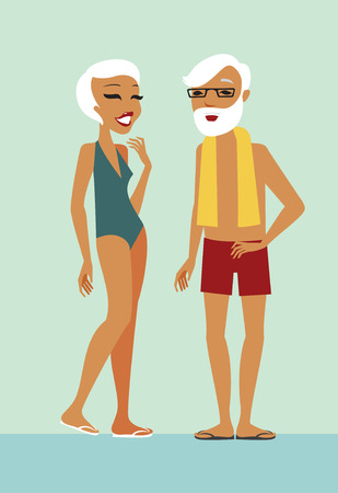 men and women: Seniors characters in swimming pool flat illustration
