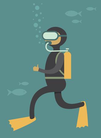 under water: Scuba diver under water cartoon vector character