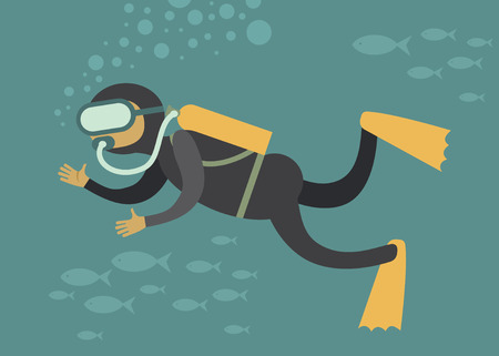 Scuba diver under water cartoon vector character