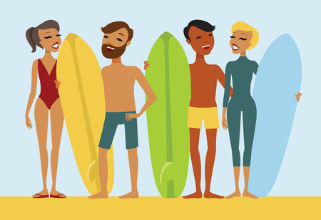 surfers: Group of young surfers flat vector set