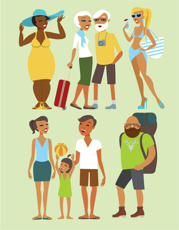 people   lifestyle: Various vacation people flat vector character set