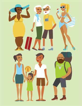 various: Various vacation people flat vector character set