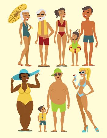 Set van strand en mensen karakters flat vector illustratie