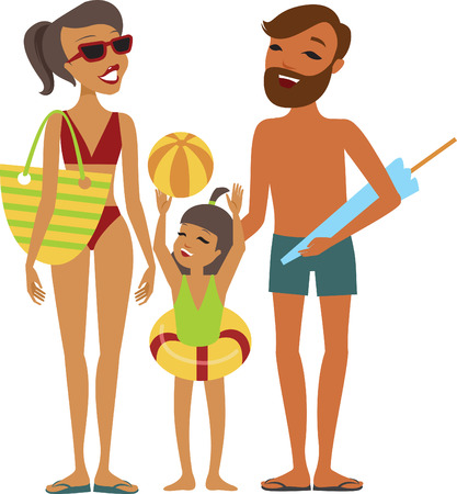 family isolated: Family with kid on the beach isolated vector