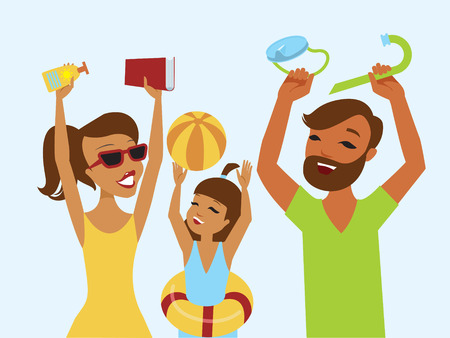 summer holiday: Happy family ready for summer holiday flat vector illustration