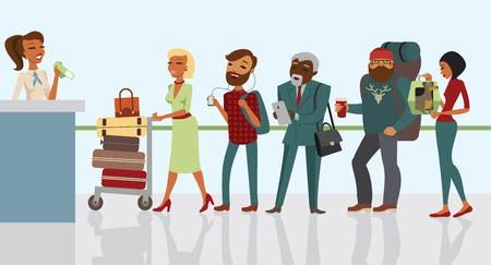 Pasażerowie w kolejce czeka odprawy na lotnisku Ilustracje wektorowe