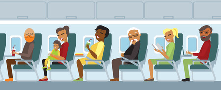 cabin: Various airplane passengers on the flight vector Illustration