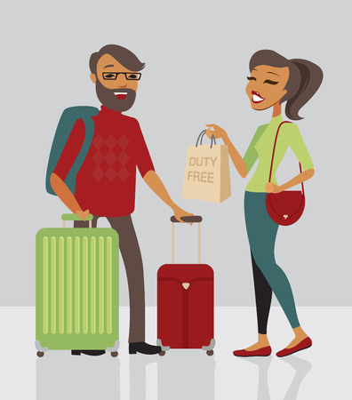 tourists: Young family  traveling with lot of baggage Illustration