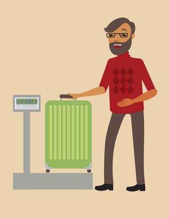 gente aeropuerto: Pesaje de los pasajeros a su gran maleta antes del vuelo