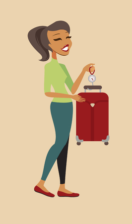 steelyard: Woman cheking her suitcase weight before flight