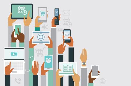 telefono caricatura: manos humanas sosteniendo el diseño vaus copyspace dispositivos inteligentes