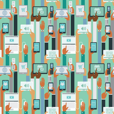 human hands: Human hands holding smart devices seamless pattern