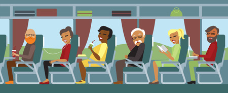 traveling: Passengers traveling by bus flat illustration