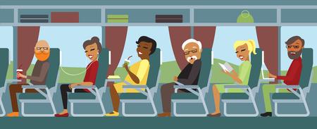 passengers: Passengers traveling by bus flat illustration