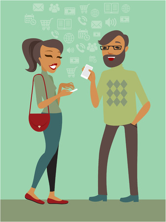 persons: Couple using smartphones together flat illustration