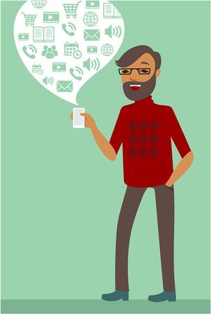 men talking: Young Man using smartphone flat illustration