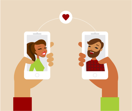 Online dating app concept flat illustration Çizim