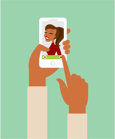Online dating app concept flat illustration Vettoriali