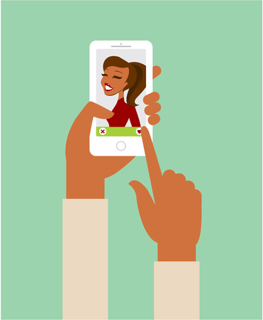 closeup: Online dating app concept flat illustration Illustration
