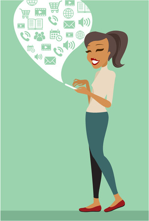 using smartphone: Young woman using smartphone flat illustration