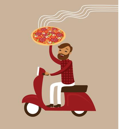 uomo rosso: Giovane corriere consegna pizza calda di guida dello scooter