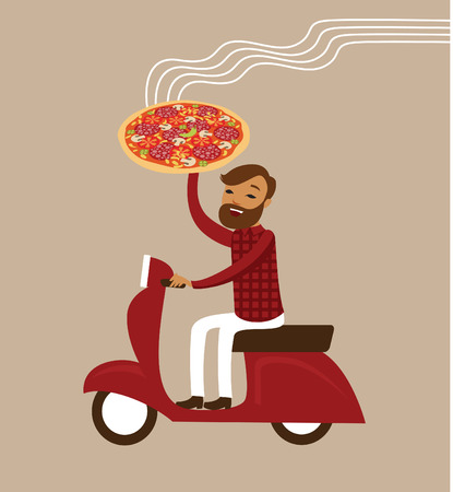 courier man: Young courier deliver hot pizza driving scooter Illustration
