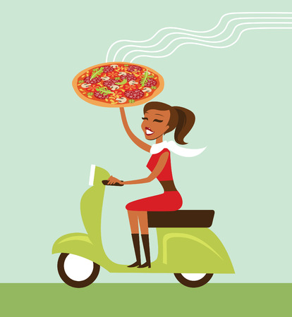 courier: Young girl courier deliver hot pizza driving scooter Illustration