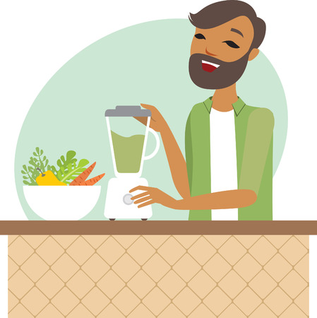 preparing: Young man preparing smoothie in the kitchen Illustration