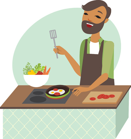 preparing: Young man preparing meal in the kitchen Illustration