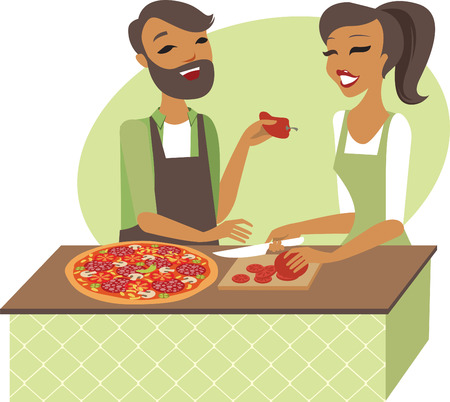 preparing: Young couple preparing pizza together flat illustration
