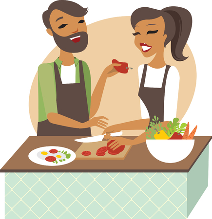 preparing: Young couple preparing healthy lunch together Illustration